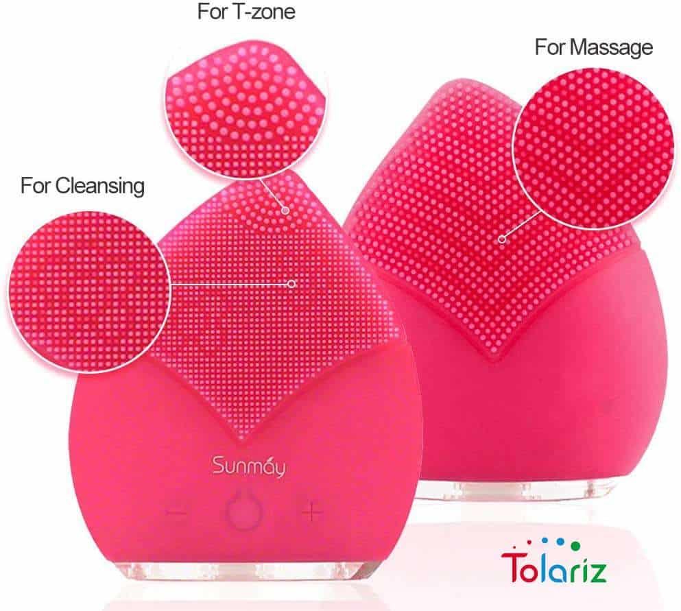 Máy rửa mặt Sunmay được sản xuất theo công nghệ Nhật Bản, với hình dáng như một chiếc lá nên có thể tẩy sạch các chất bụi bẩn ở mọi vùng trên da từ sóng mũi, cạnh mũi đều có thể len lỏi vào để tẩy sạch các bụi bẩn trên da.
