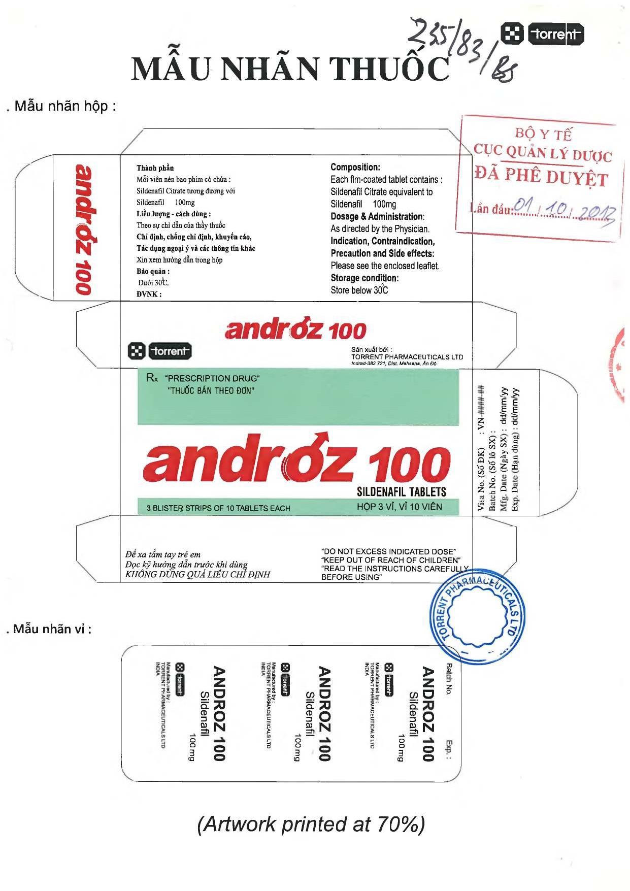 Mẫu nhận dạng thuốc Androz 100 chính hãng