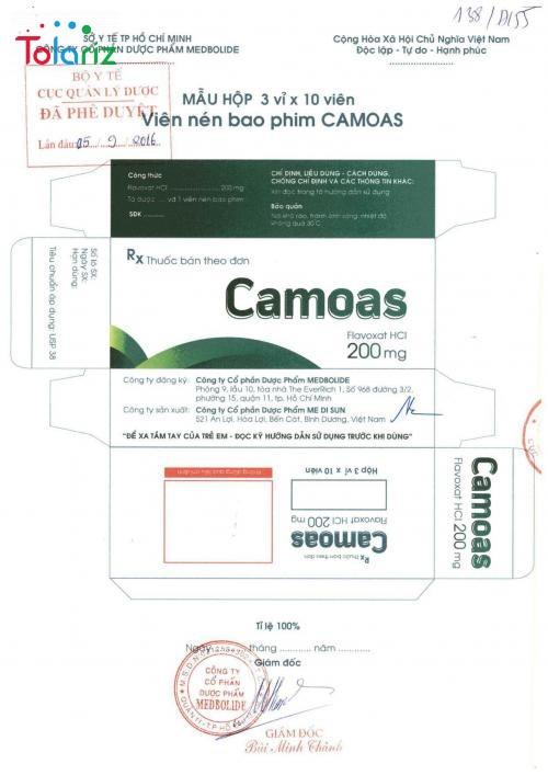 Thông tin bao bì thuốc Camoas chính hãng